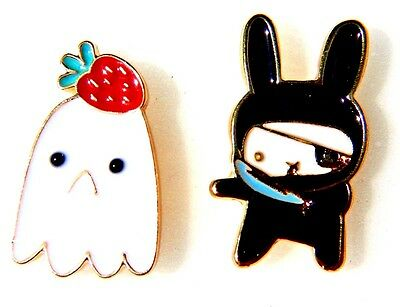 CUTE WEIRD LAPEL PIN kawaii enamel Strawberry Ghost Ninja Pirate Bunny brooch 2G - Cute Pirate