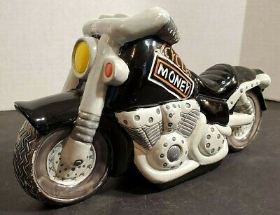 Goods Gallery PORCELAIN MY MONEY MOTORCYCLE HAND PAINTED COIN BANK Motorcycle Money Banks