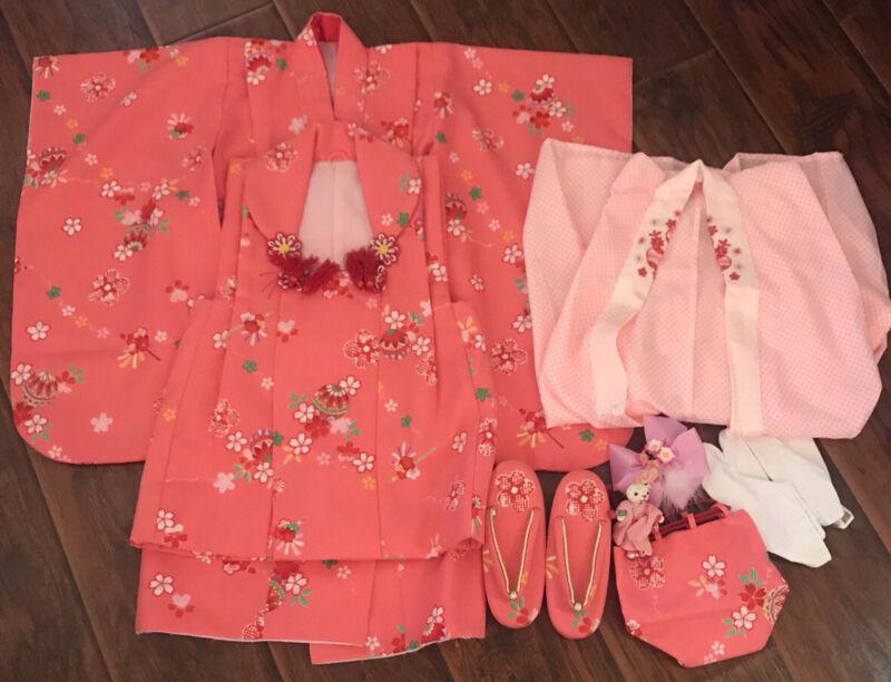 Full Kimono set for Ceremony Girls Kids Japanese Traditional Dress Sakura Pink