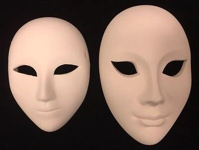 Unglazed White Ceramic (Unfinished Blank Plain White Ceramic Mask Set of 2 Mardi Gras Carnival Unglazed )