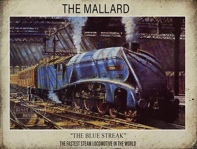 THE MALLARD FASTEST LOCOMOTIVE STEAM TRAIN METAL SIGN: HOME DECOR:MAN CAVE