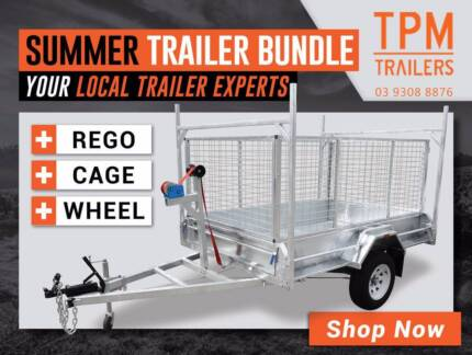 Super Bundle 8x5 Tipper Trailer HighSides Free Cage Spare REGO
