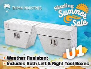 Pair of Under Tray Ute Tool Boxes - 2.5mm Aluminium Checker Plate Coopers Plains Brisbane South West Preview