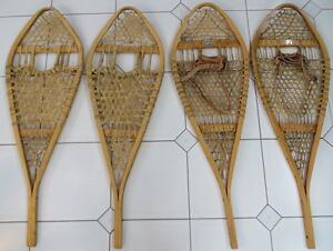 Vintage Traditional Wood & Rawhide Huron Snowshoes
