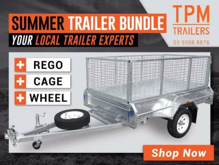 MEGA BUNDLE SALE! 6x4 Trailer Galvanised w Cage FREE REGO & SPARE