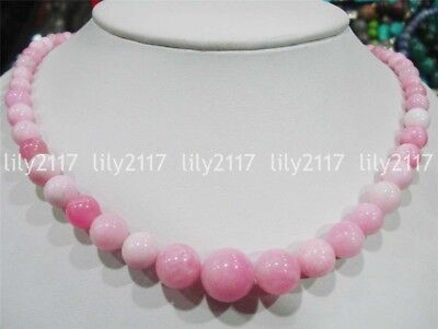 - Beautiful Natural 6-14mm Pink Multi-Color Jade Gemstone Round Beads Necklace 18