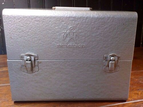 Vintage Brumberger Film Metal Storage Box with 5 Storage Reels Darkroom Safe