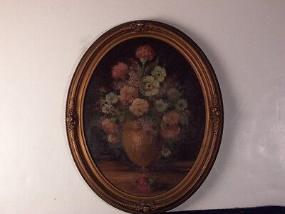 ANTIQUE 1910's FRAMED OVAL PAINTING or TEXTURED PRINT ??? ART DECO FRAME FLOWERS