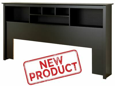 King Size Headboard Wood Bookcase Bed Headboards w/ Storage Contemporary Black
