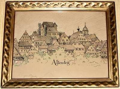 Alte Zeichnung von ALTENSTEIG 1924 signiert - Die Altstadt mit Kirche und Schloß