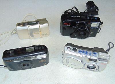 Mixed Lot 4 Point and Shoot Cameras Olympus Kodak Nikon Infinity
