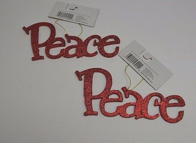 2 Christmas Holiday Ornaments Hanging Inspiration Religious Peace Red #105