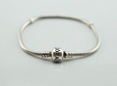 - Pandora Sterling Silver Charm Barrel Clasp Snake Bracelet  7.1