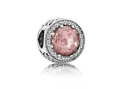 Authentic Pandora Radiant Hearts, Blush Pink  Crystal Silver Charm 791725CZ