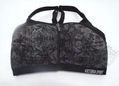 Victorias Secret KNOCKOUT FRONT CLOSE Sports Bra 38D Black Floral Print NWT!