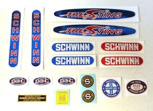 Officially licensed 1979-82 Schwinn Sting BMX decal sticker set MADE IN USA
