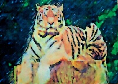 ACEO ATC Tiger Hand-Rendered Wet Watercolor