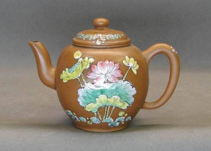 Old Chinese YiXing ZiSha + Famille Rose Teapot Mark
