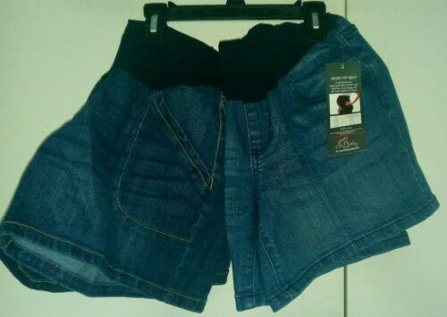 Lot of 2- Oh Baby by MOTHERHOOD Secret Fit Belly Blue Maternity Shorts Sz M NWT