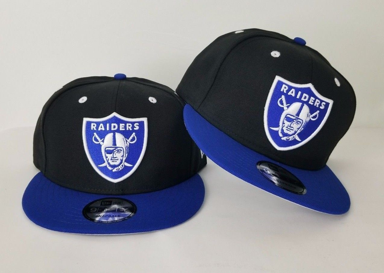 New Era NFL Black   Royal Blue Oakland Raiders Shield Logo 9Fifty Snapback  Hat d580dc9b4f0