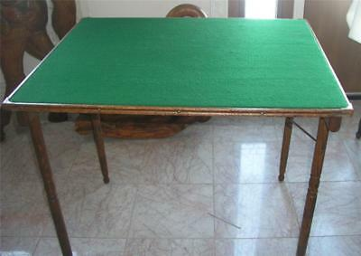 Antique Wood Folding Card Table Pat. 1888 Oak with Wool Felt Top Sewing Crafts (Felt Top Table)