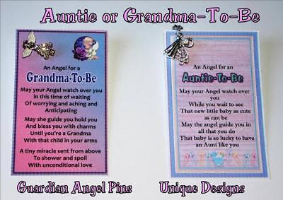 GUARDIAN ANGEL poem pin AUNTIE or GRANDMA TO BE novelty UNIQUE gift  keepsake](Grandma To Be Pin)