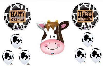Happy Birthday Western (9 PC COW Western Happy Birthday Rodeo Farm Balloon Party Set FREE)