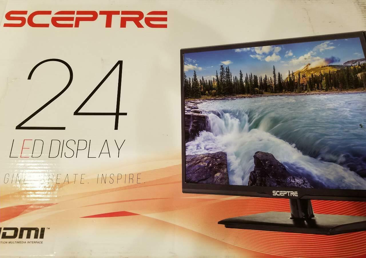 "NEW Sceptre 24"" 1080p 60Hz Class LED HDTV Slim Flat Screen H"