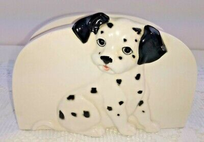 Vintage OTAGIRI Napkin Mail Holder Black White Dalmation Dog Hand Crafted Japan