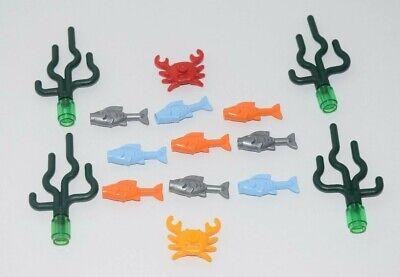 Lego Ocean Lot Sea Grass Seaweed Plant Orange Blue Fish Purple Red Crab Food