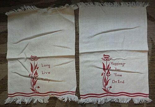Vintage / Antique set of happiness towels