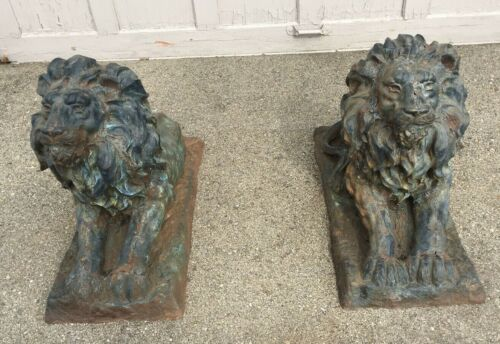 "VINTAGE LARGE PAIR OF CAST IRON GARDEN LIONS 23"" BY 27"" BY13"""