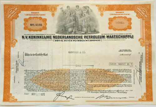 Royal Dutch Petroleum Company > Netherlands N.V. oil stock certificate share