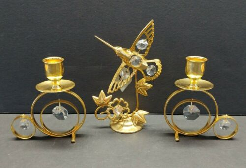 AUSTRIAN CRYSTAL 24K GOLD PLATED KG & C HUMMINGBIRD & TAPER CANDLE HOLDERS