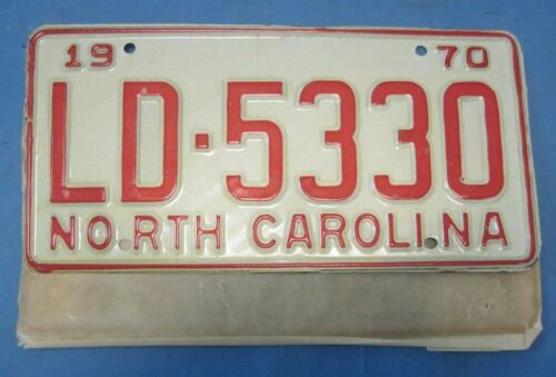 1970 North Carolina License Plate new never used with wrapper