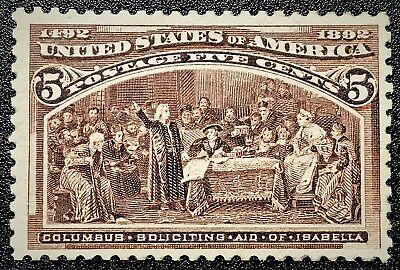 US Sc#234 1893 Columbian 5c Mint NH OG VF Good margins and perf. (book)