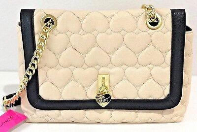 Betsey Johnson Flap Xbody Shoulder Bag Purse Be Mine Quilted Hearts Bone Black