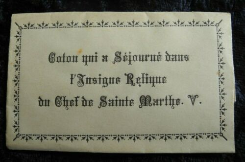 OLD ANTIQUE HAND FOLDED ENVELOPE WITH RELIC / RELIQUARY MARTHE . V.