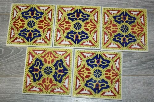 "Lot of 5 Ideal Standard Ceramic Wall Tiles Mexico 4 3/8"" x 4 3/8"""