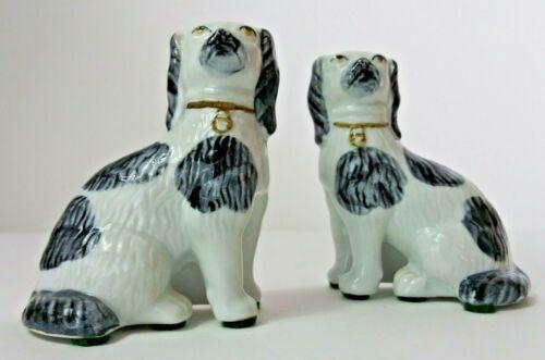 2 Vtg Dog Figurine English Springer Spaniel Porcelain Ceramic Handmade Thialand