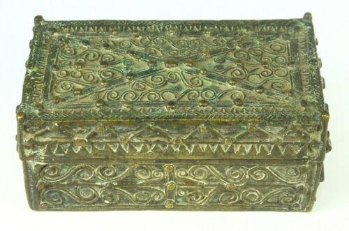 ! Antique 19th c. Mindanao, Philippines Betel Nut Box, Very Ornate HEAVY Brass