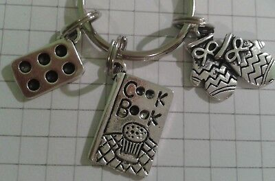 Tibetan Silver Charms Cook Book Oven Gloves Cake Tin Round Key Ring For Handbag