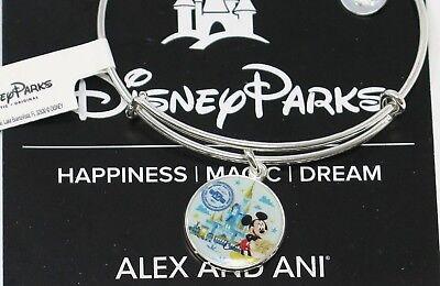 Disney Alex and Ani Mickey Mouse Compass Charm Bracelet Silver Passport WDW 2018