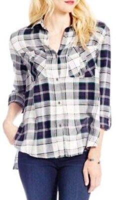 Jessica Simpson Women Dion Blue Tango Plaid Roll Sleeve Button Down Shirt Size M