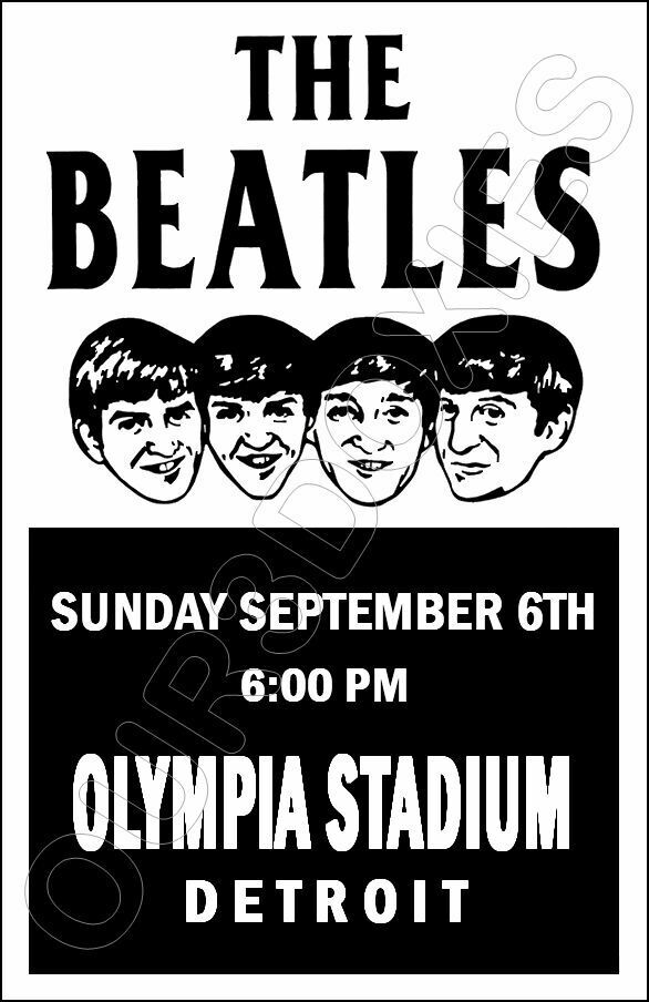 1964 Beatles Concert Poster 11X17 Olympia Stadium Detroit Michigan - $8.95