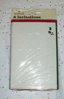 VINTAGE CHRISTMAS INVITATIONS HOLLY & BERRIES FOR PARTY SEALED PKG OF 8