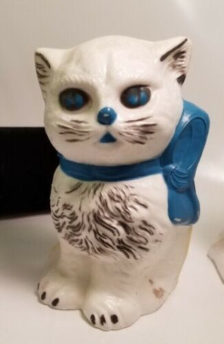 Vintage NOW there are 4 White Cat with Blue Bows Coin Banks Hard Plastic Tip Top