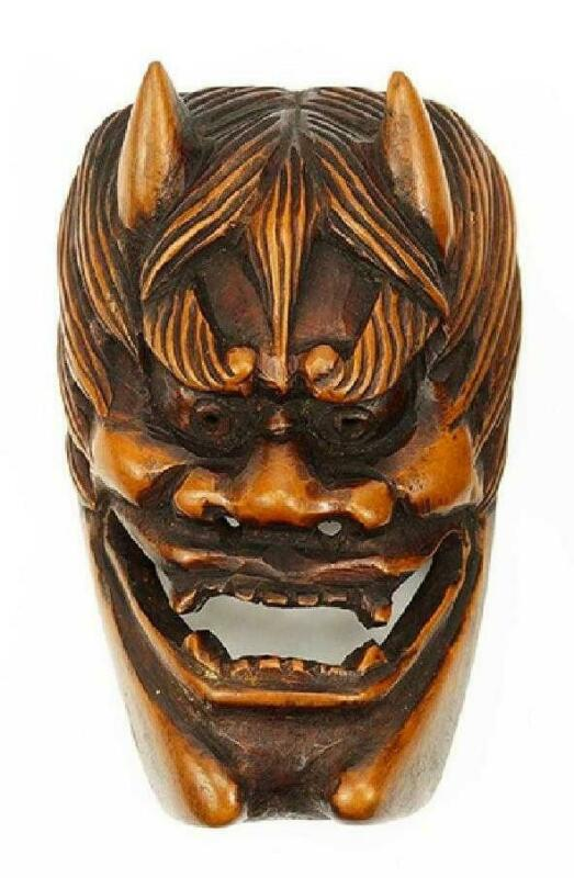 Antique Japanese Carved Hardwood Mask Netsuke, Edo Period.