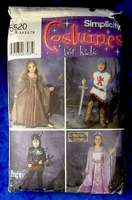 Simplicity Pattern Costumes For Kids Medieval 5520 4 Costumes Size A 3,4,5,6,7,8 - Medieval Dresses For Kids