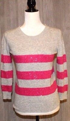 J.Crew Womens Sweater Pink Merino Wool Striped Sequin Stretch Tippi Size XS for sale  Terrell